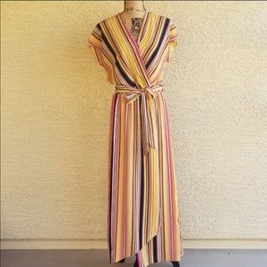 Eci New York Tan Striped Maxi Dress Sz S